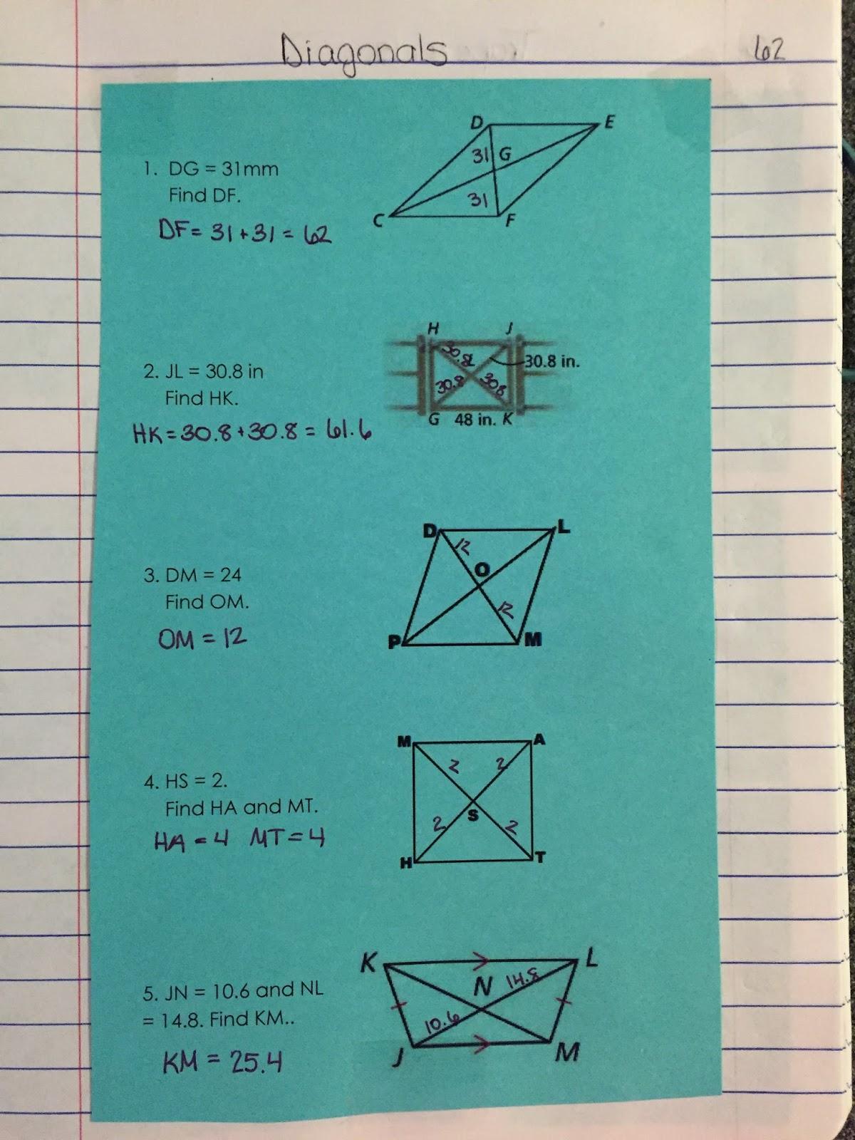 Misscalcul8 Geometry Unit 6 Quadrilaterals Interactive Notebook