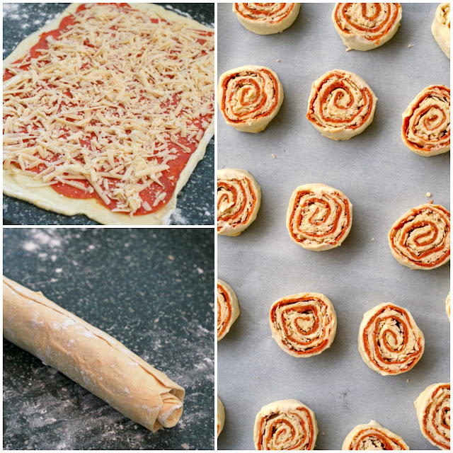 Pepperoni and Asiago Pizza Pinwheels | thetwobiteclub.com