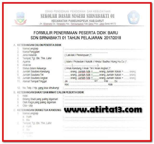 Contoh Formulir Penerimaan Siswa Baru Tahun 2017/2018 Format Words.Doc