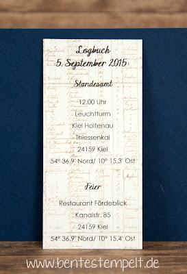 stampin up einladung hochzeit maritim the open sea Hochzeitseinladung Anker Initialen Blau Weiß Sand Einleger Segelboot Schiff Boot