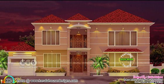 2650 sq-ft colorful sloping roof home