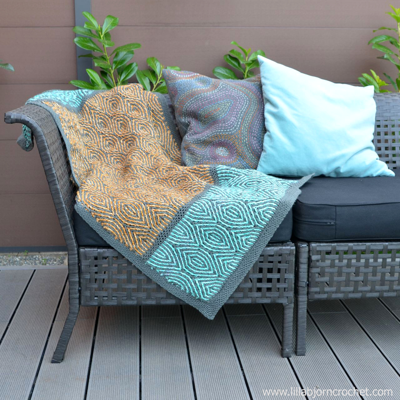 "Brioche Waves crochet pattern can be used for everything: blankets, cowls, scarves, trivets, potholders, rugs... you name it. The pattern comes in two versions: ""airy"" with holes and well draped, and ""overlay"" which creates a firm and sturdy fabric. Originally designed by www.lillabjorncrochet.com"