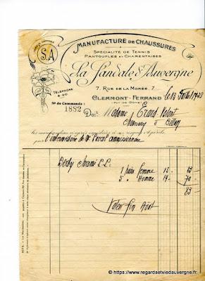 Vieille facture : La sandale d'Auvergne, Clermont-Ferrand