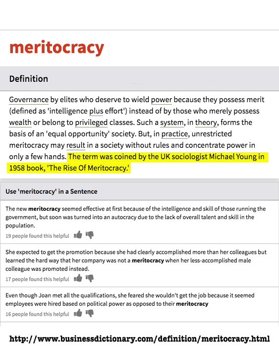 Definition of Meritocracy