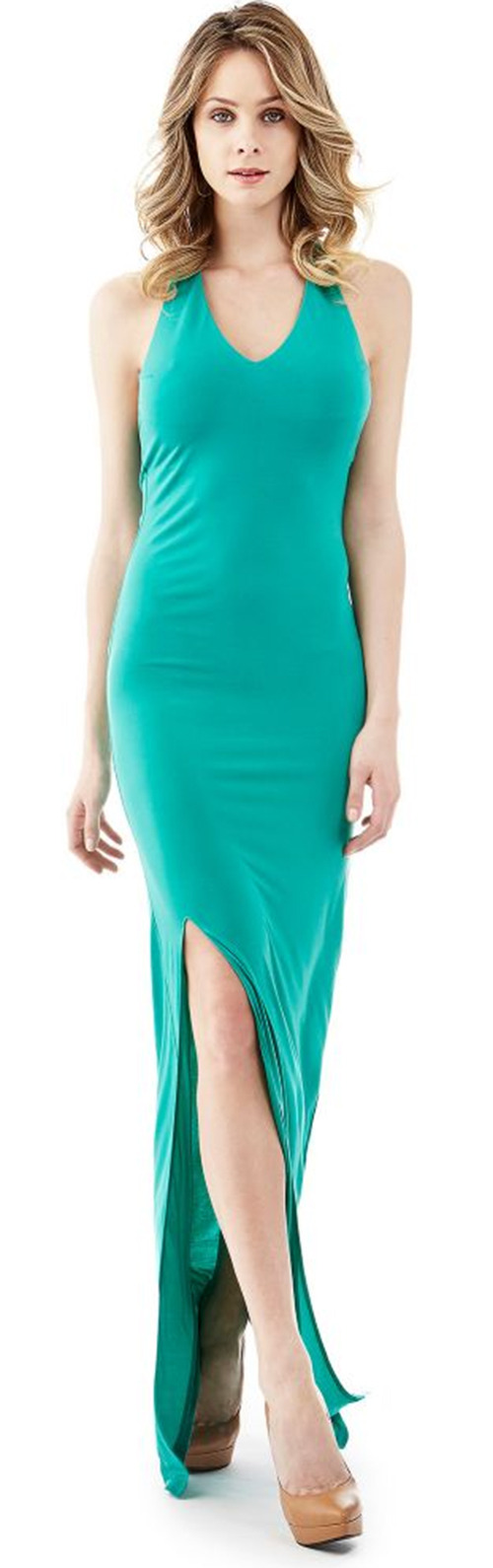 Robe longue moulante turquoise Guess