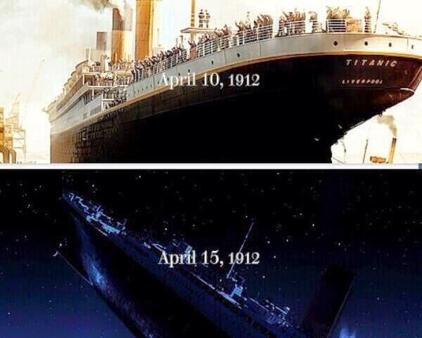 Titanic ferry sank april 15, 1912