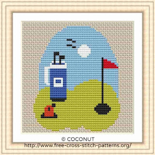 GOLF, FREE AND EASY PRINTABLE CROSS STITCH PATTERN