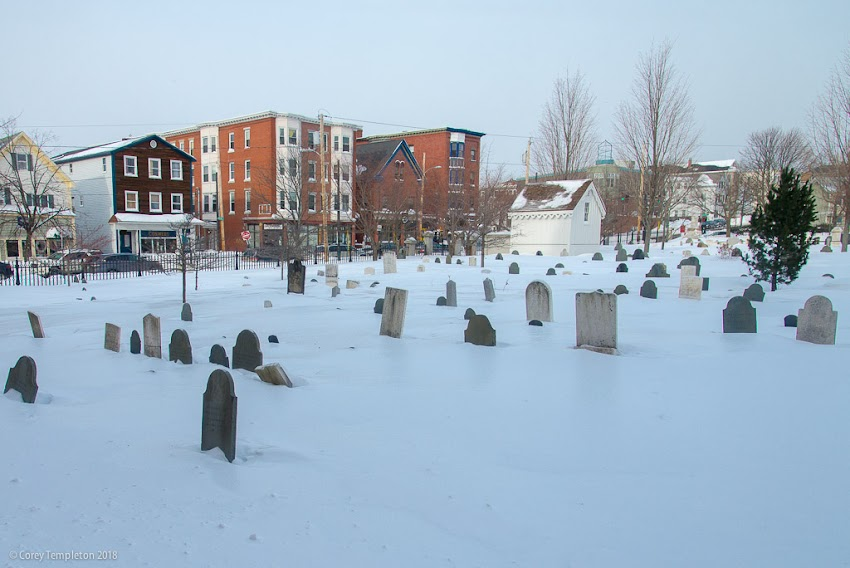 Portland, Maine USA January 2018 photo by Corey Templeton. A cold day in the Eastern Cemetery, home of Spirits Alive at the Eastern Cemetery. The cemetery here dates to 1668.