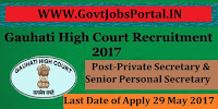 Gauhati High Court Recruitment 2017– Private Secretary & Senior Personal Secretary