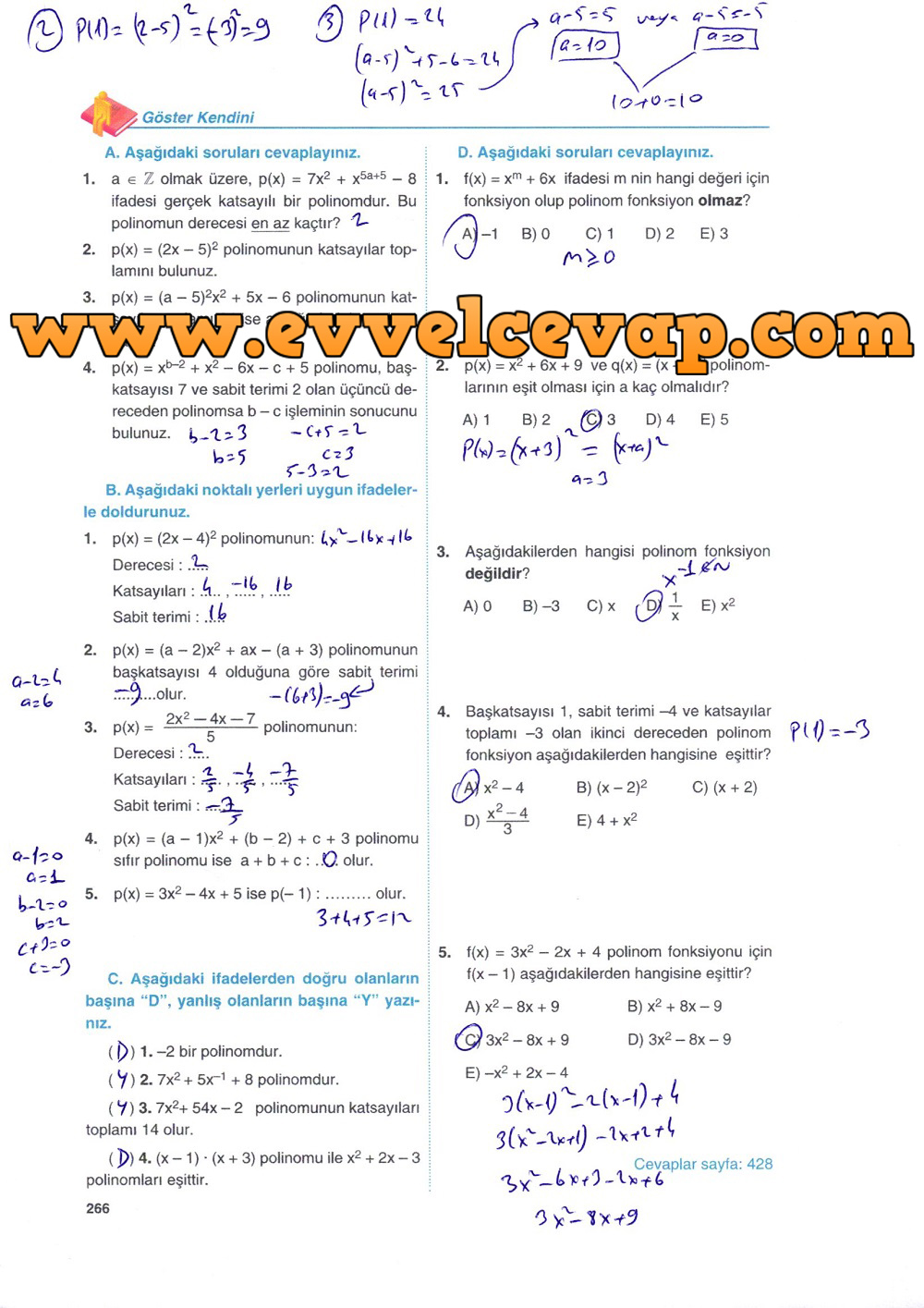 10. Sınıf Matematik Tuna Yayınları Ders Kitabı 266. Sayfa Çözümleri