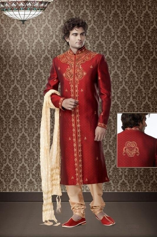 Resham Work Maroon Brocade Cotton Silk Sherwani With Churidar