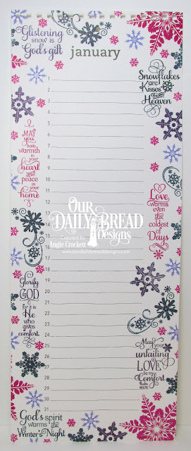 ODBD Snowflake Sentiments, ODBD Snowy Blessings, ODBD Snowflake Mini Set, ODBD Sparkling Snowflakes, Calendar Page designed by Angie Crockett