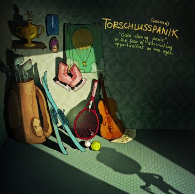 Torschulusspanik (palavra alemã). Mostra um cômodo de uma casa cheia de coisas.