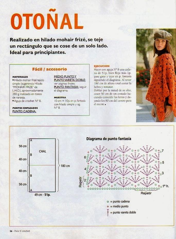 Poncho Otoñal Crochet-Tricon Patron