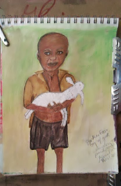 Burkino Faso boy with lamb; sketch by Gloria Poole; ethnic sketch