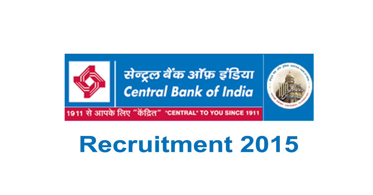 Central Bank of India Recruitment 2015