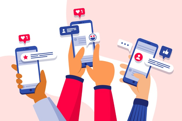 Social media marketing on phone concept Free Vector