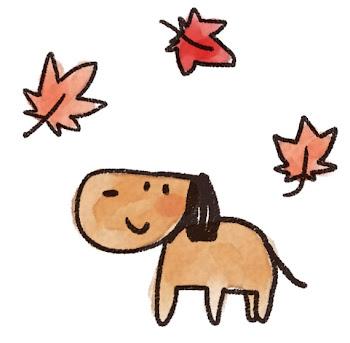 紅葉のイラスト「もみじと犬」