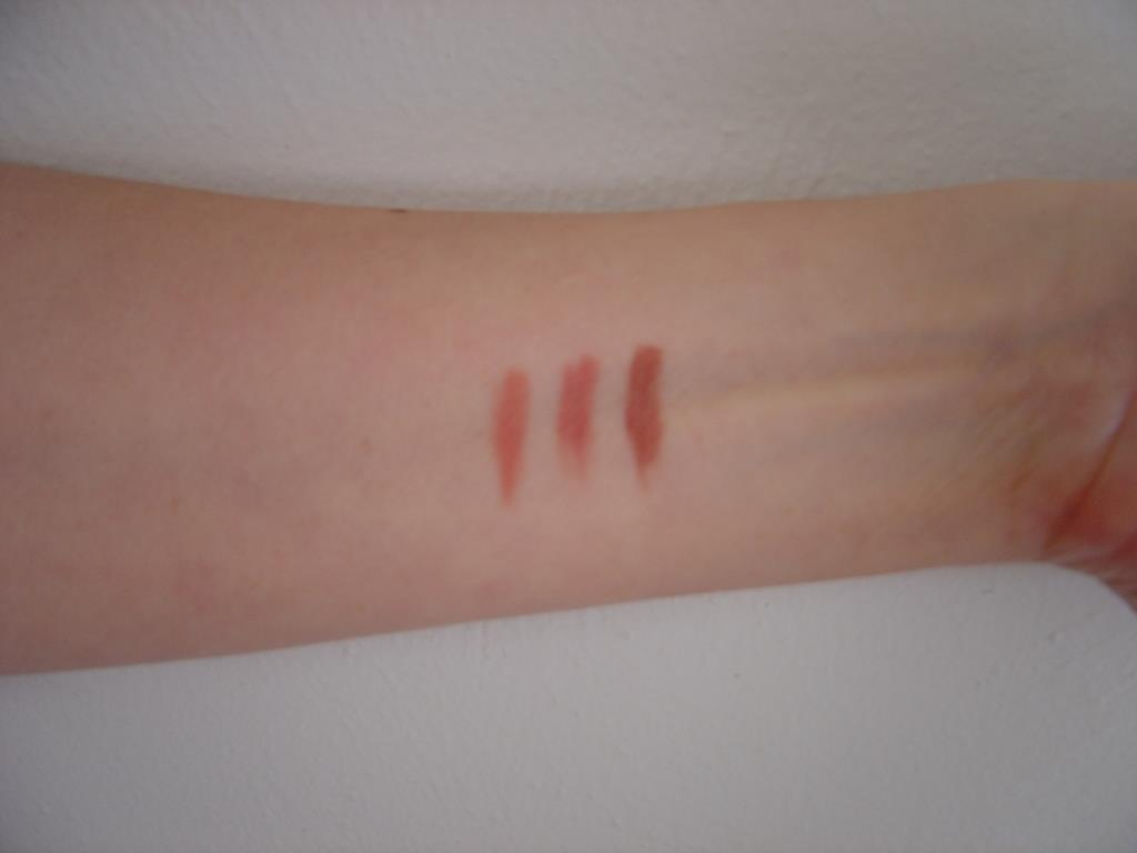 Swatches of Laura Geller Pout Perfection Waterproof Lip Liners (Blossom, Spice, Nude)