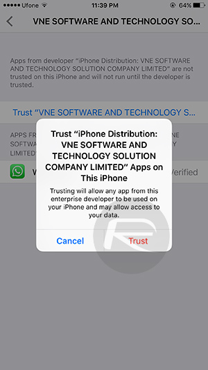 "Step 8 : Here, tap Trust ""VNE Software and Technology S…"" then hit the trust button."