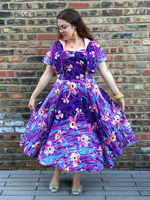 pinup girl clothing purple hawaiian hideaway dress