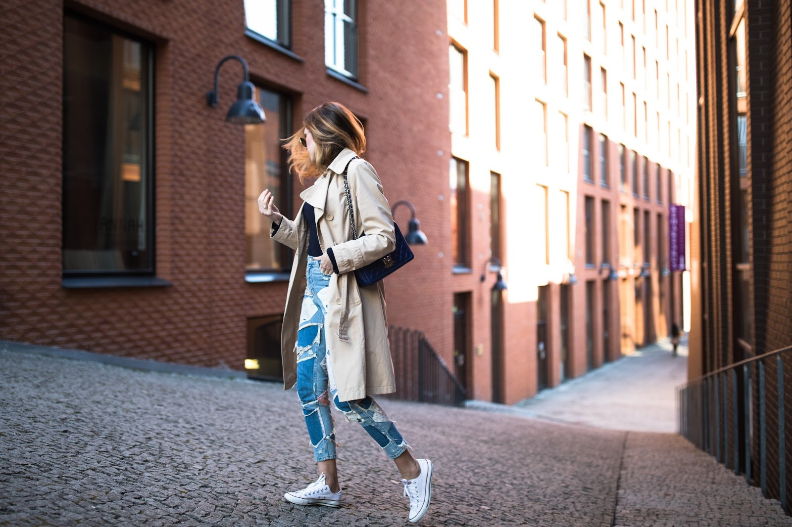 patchwork jeans street style