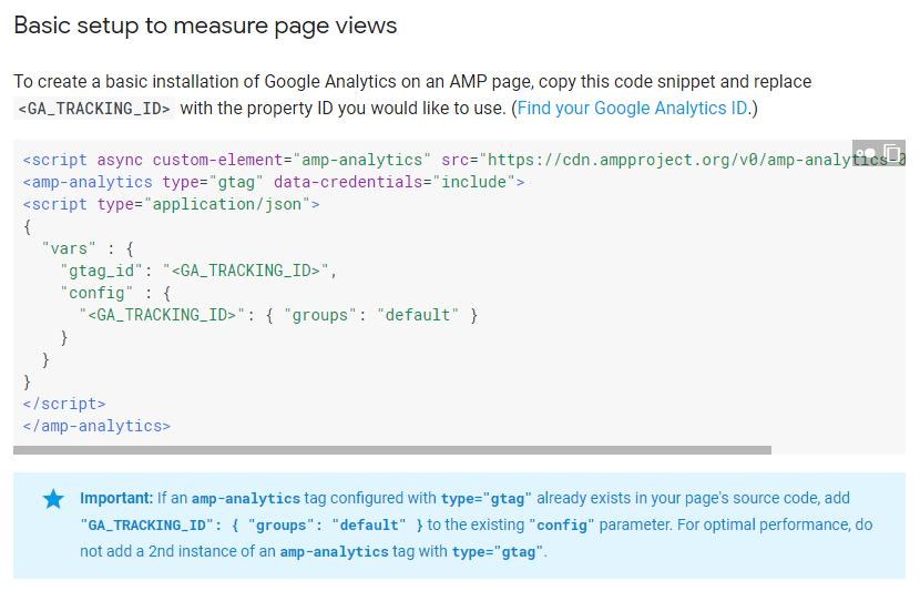Google Analytics trên trang AMP