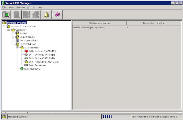 Dysk ID 0 widoczny jako uszkodzony, zaś dotychczasowy dysk Hot Spare ID 3 został wykorzystany do obudowy macierzy