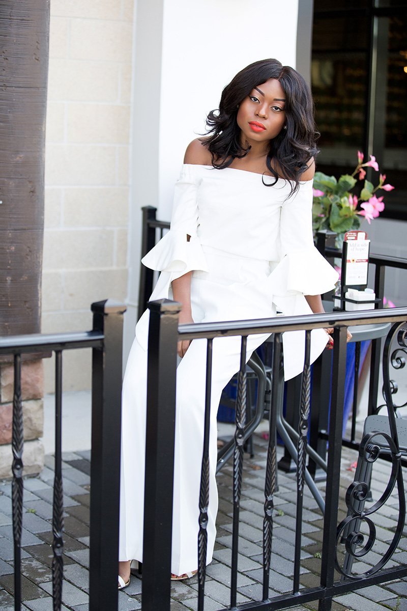 chicwish off shoulder top, white pants, www.jadore-fashion.com