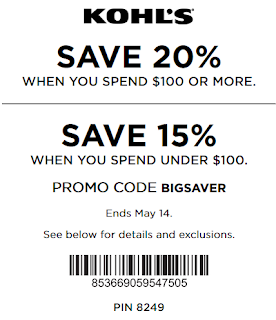Kohl's coupon 20% off $100+ purchase