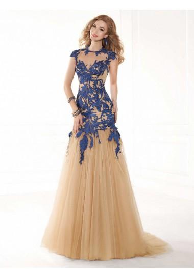 Corte Sirena En U Tul Barrido Vestidos de Fiesta/Vestidos de Noche Con Apliques