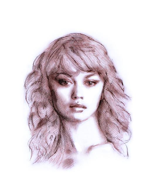 sepia drawing, Olga Kurylenko