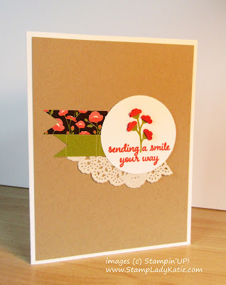 Folded Punched flowers on a card made with Stampin'UP!'s Love and Affectrion Stamp Set