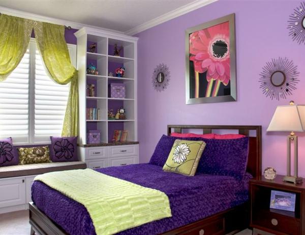 Dormitorios morados para chica ideas para decorar - Paredes de habitaciones juveniles ...