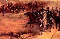 Dibujo de José de San Martín en plena batalla