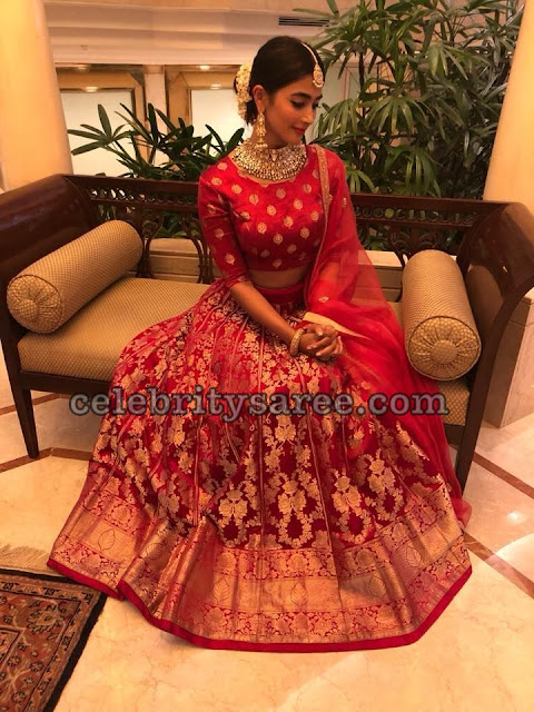 Pooja Hegde in Pink Benaras Lehenga