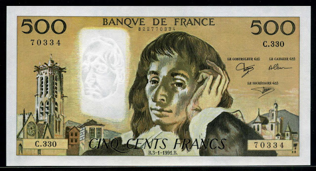 France money currency 500 French francs euro banknote bill