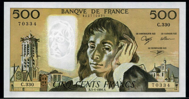 France Money 500 French Francs Banknote 1991 Blaise Pascal World Banknotes Amp Coins Pictures