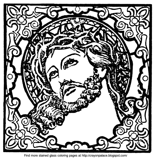 A Stained Glass Coloring Page Of Jesus Crayon Palace