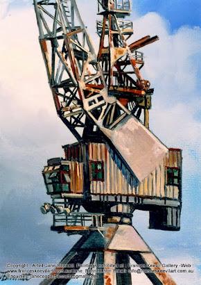 oil painting of crane on Cockatoo Island  by artist Jane Bennett