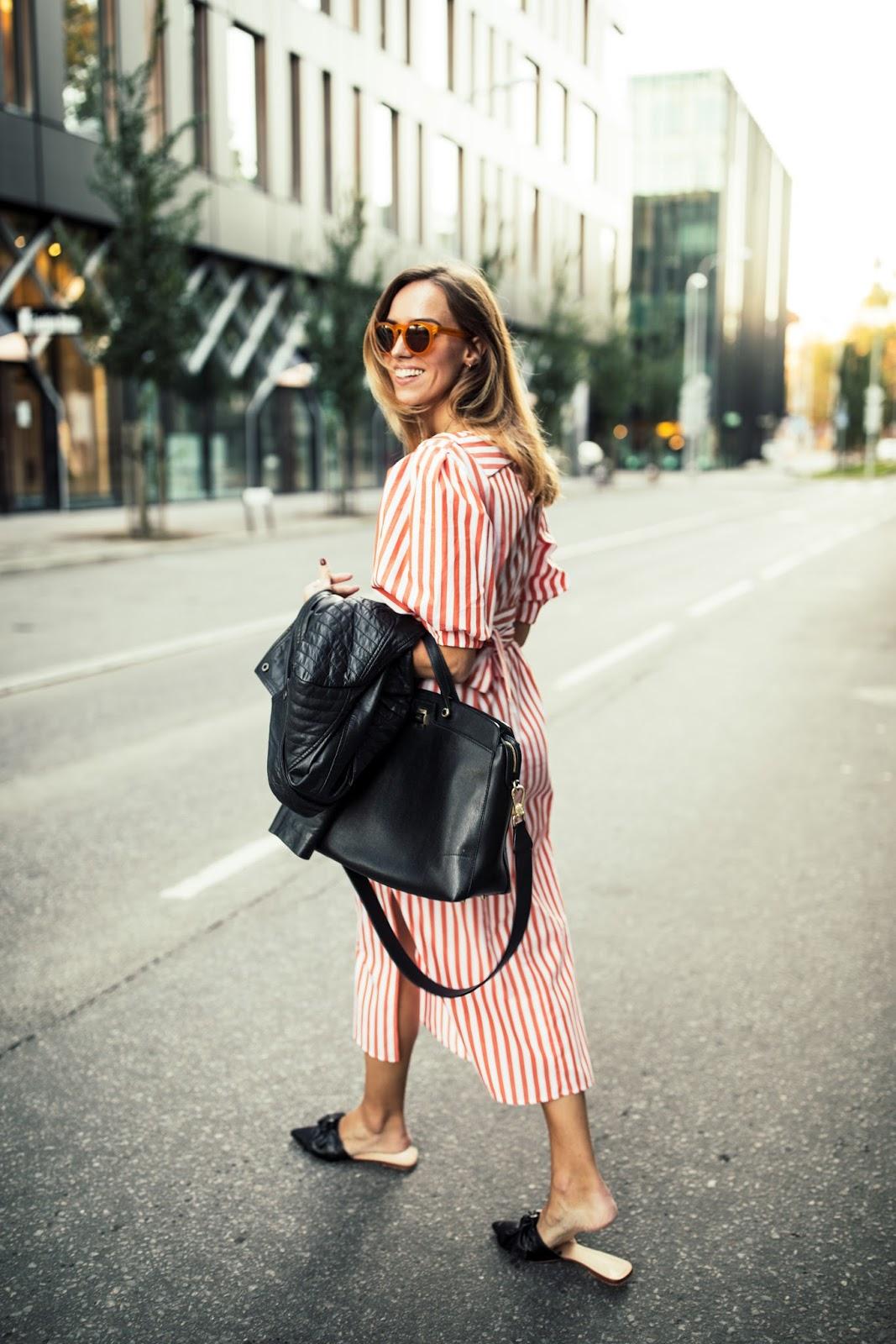 zara stripe dress street style