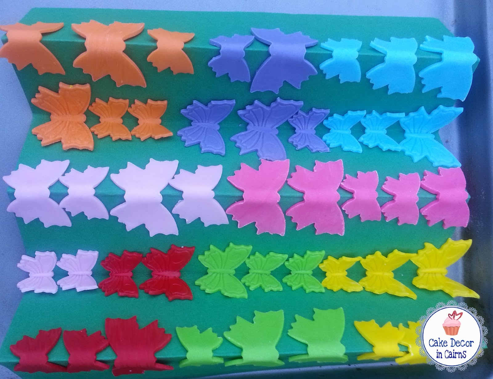 Making a  diy former to dry fondant gumpaste butterflies Rainbow Coloured drying