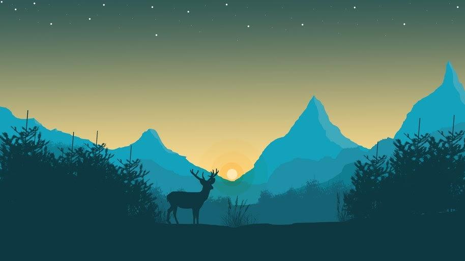 Sunrise, Minimalist, Digital Art, Minimalist, Deer, Silhouette, 4K, #30