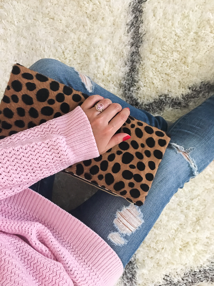 AG distressed super skinny jeans, Clare V leopard foldover clutch, Goodnight Macaroon Arielle Pink Crewneck Classic Knit Sweater, Pink gemstone ring