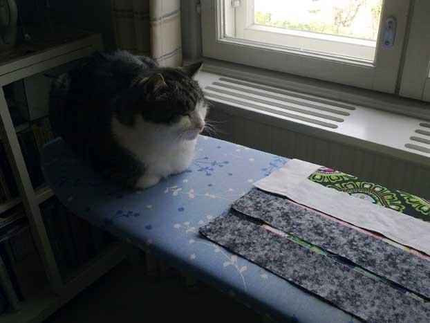 Kissa tilkkuilijan apuna silityslaudalla