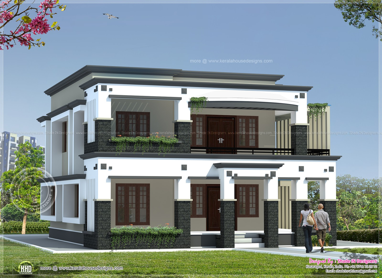 241 square meter flat roof house kerala home design and floor plans for Flat roof house plans design