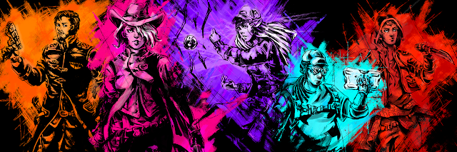 character archetypes from the game in sketched illustration with bright colors overlaid
