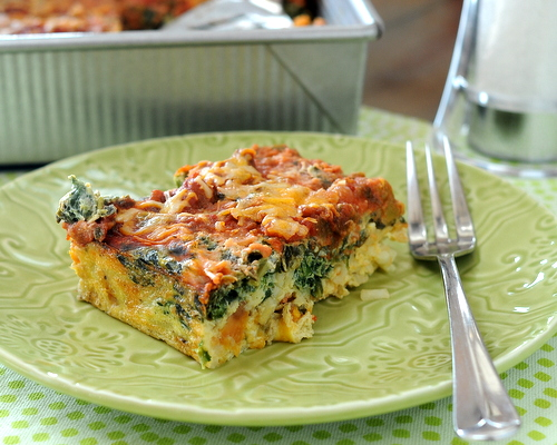 Easy Make-Ahead Breakfast Casserole, a master recipe ♥ KitchenParade.com. Start with eggs, frozen hash browns, salsa and cheese, then adapt as you like, incl on-the-go muffins and individual ramekins.