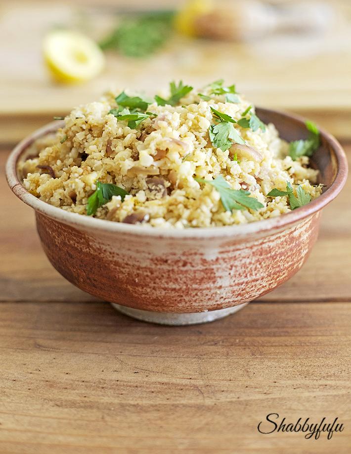 cauliflower rice in a serving dish