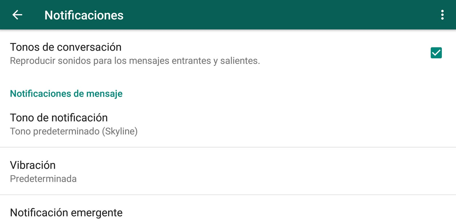 Notificaciones personalizadas de WhatsApp